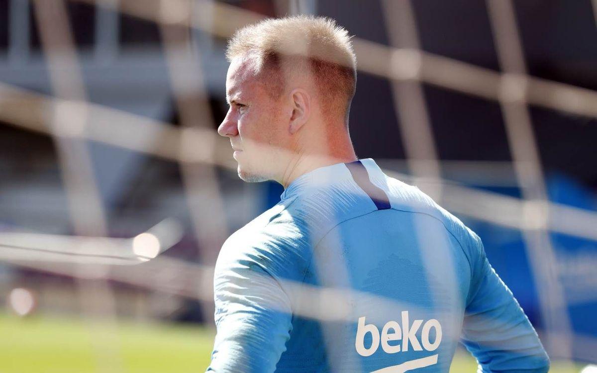 Ter Stegen, durante un entrenamiento reciente (Foto: FCB).