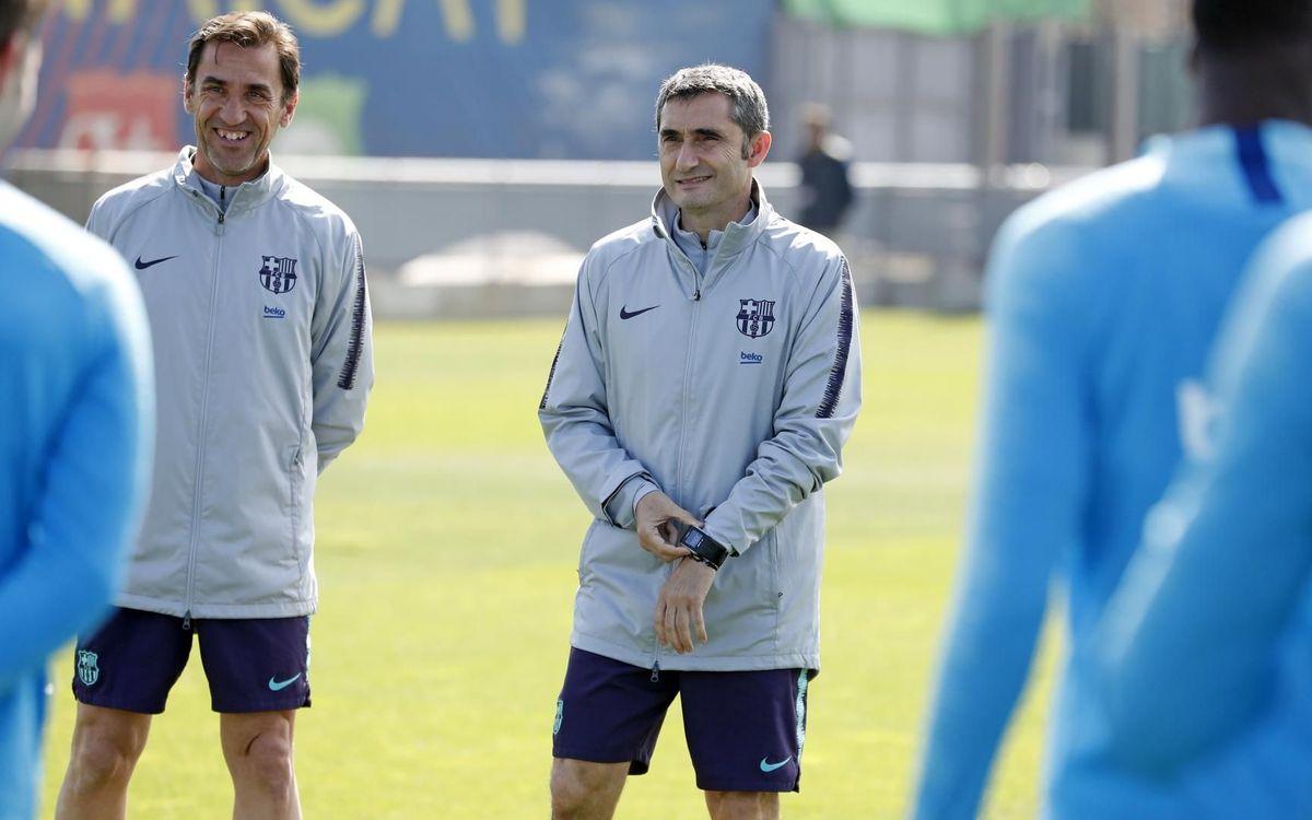 Valverde, durante un entrenamiento reciente (Foto: FCB).